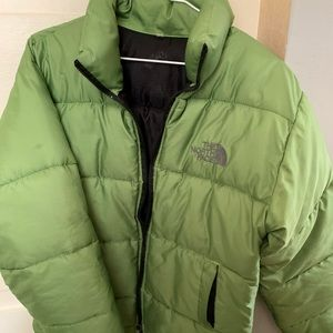 Green Puffer Down North Face jacket S